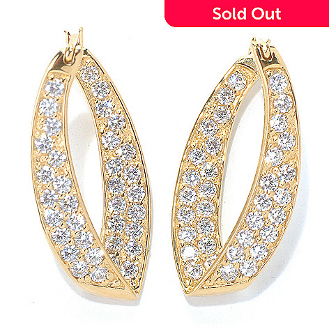 131-972 - Brilliante® 1'' 2.80 DEW Simulated Diamond V-Shaped Hoop Earrings