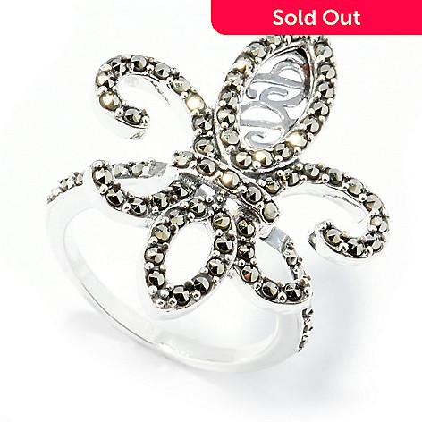 131-979 - Dallas Prince Micro Pave Fleur-de-lis Ring Made w/ Swarovski® Marcasite