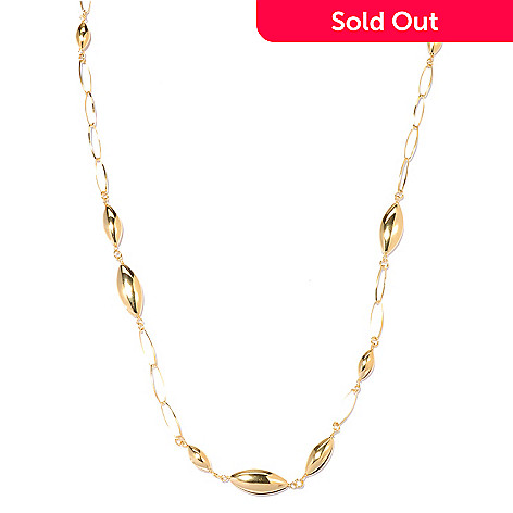 131-984 - Portofino 18K Gold Embraced™ 40'' Polished Almond Shaped Station Necklace
