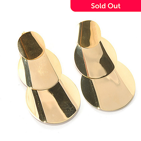 131-987 - Portofino 18K Gold Embraced™ 1.25'' Polished Triple Circle Dangle Earrings