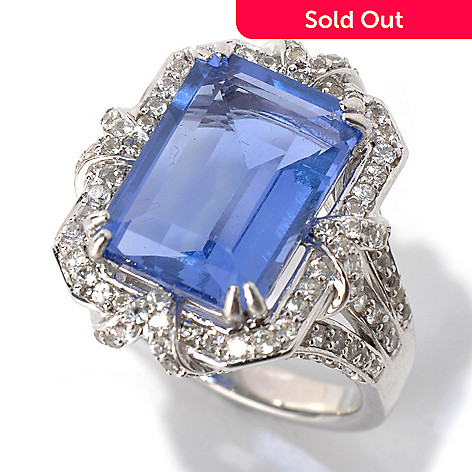 131-993 - Gem Insider™ Sterling Silver 8.13ctw Color Change Fluorite & Sapphire Ring