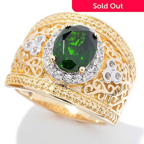 131-994 - NYC II™ 9 x 7mm Chrome Diopside & White Zircon Wide Band Ring