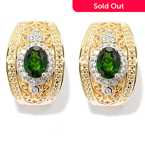 131-996 - NYC II 2.82ctw Chrome Diopside & White Zircon Earrings w/ Omega Backs