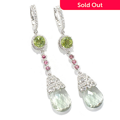 131-999 - NYC II™ 12.62ctw 2'' Briolette Cut Prasiolite & Multi Gemstone Dangle Earrings