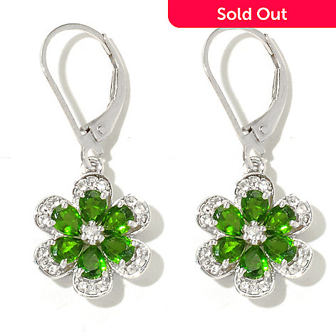 132-000 - NYC II 1.25'' 1.94ctw Chrome Diopside & White Zircon Flower Drop Earrings