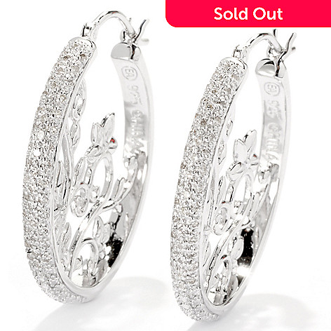 132-001 - Diamond Treasures Sterling Silver 1'' 0.25ctw Diamond Floral Scrollwork Hoop Earrings