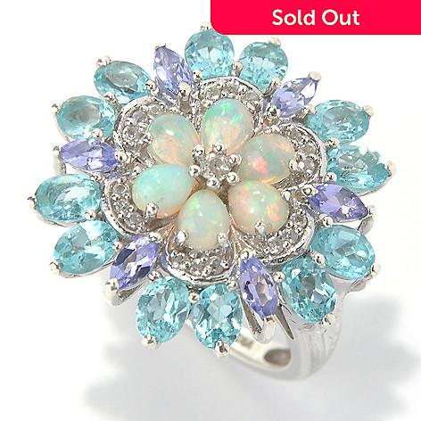 132-002 - NYC II 2.94ctw Apatite, Ethiopian Opal & Tanzanite Flower Ring