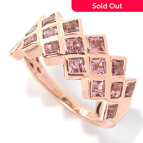 132-003 - NYC II 1.36ctw Princess Cut Pink Tourmaline Three-Row Ring