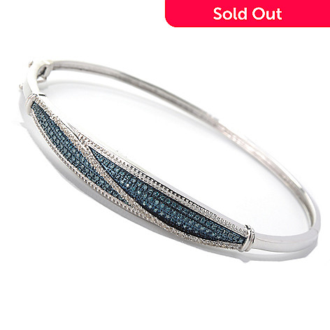 132-004 - Diamond Treasures® Sterling Silver Blue & White Diamond Pave Bangle Bracelet