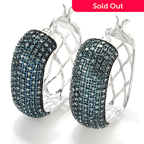 132-005 - Diamond Treasures Sterling Silver 0.92ctw Fancy Color Diamond Square Hoop Earrings