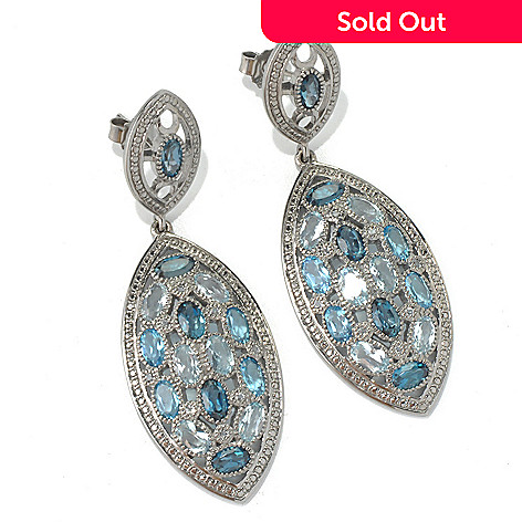 132-008 - NYC II™ 2'' 6.55ctw Multi Blue & White Topaz Marquise Shaped Drop Earrings