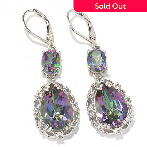 132-009 - NYC II™ 1.75'' 10.32ctw Mystic Quartz & White Topaz Pear Drop Earrings