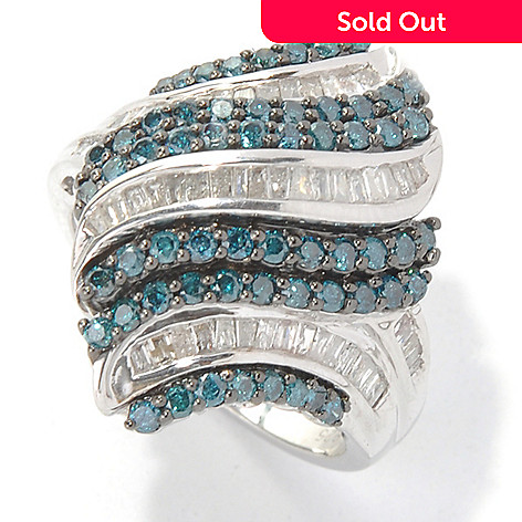 132-010 - Diamond Treasures Sterling Silver 1.31ctw Blue & White Diamond Marquise Ring
