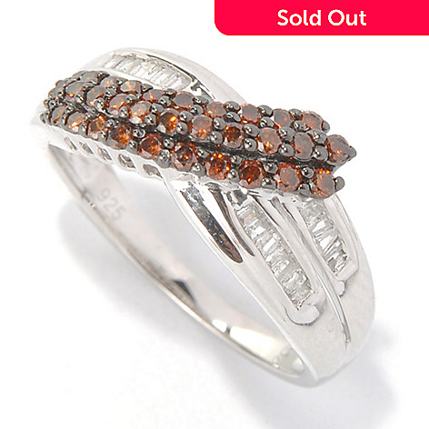 132-014 - Diamond Treasures Sterling Silver 0.47ctw White & Color Diamond Crossover Ring