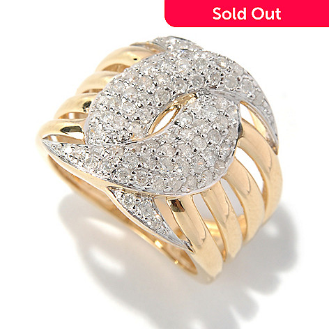 132-020 - Beverly Hills Elegance 14K Gold 1.00ctw Diamond Interlocking Crescent Moon Ring