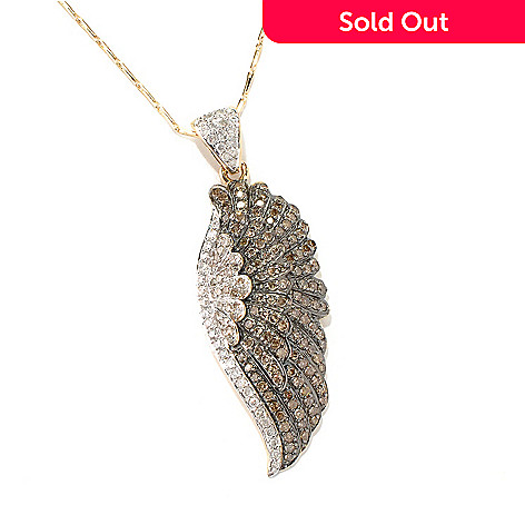 132-021 - Beverly Hills Elegance® 14K Gold 1.24ctw Diamond Wing Pendant w/ Chain