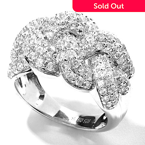 132-039 - Gem Treasures® Sterling Silver 1.91ctw White Zircon Braided Ring