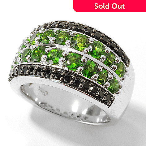 132-041 - Gem Treasures® Sterling Silver 2.53ctw Spinel & Chrome Diopside Wide Band Ring