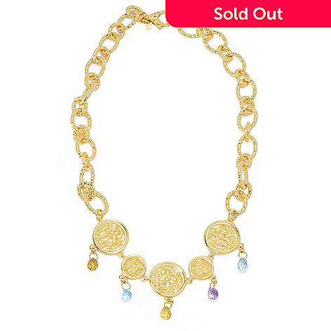 132-055 - Toscana Italiana 18K Gold Embraced™ 18'' Briolette Cut Multi Gemstone Five-Coin Necklace