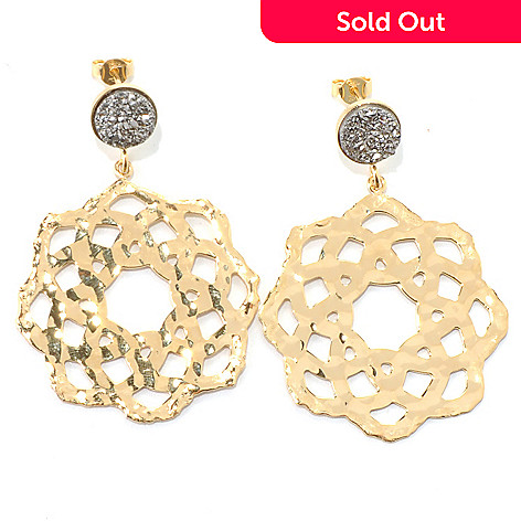 132-057 - Toscana Italiana 18K Gold Embraced™ 9mm Silver Drusy 2'' Hammered Flower Drop Earrings