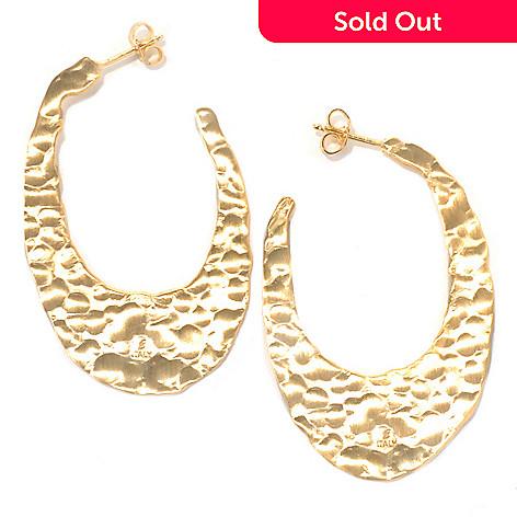 132-058 - Toscana Italiana 18K Gold Embraced™ 1.75'' Hammered Elongated Oval Hoop Earrings