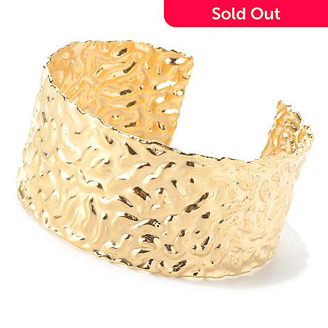 132-060 - Toscana Italiana 18K Gold Embraced™ 7'' Polished & Hammered Cuff Bracelet