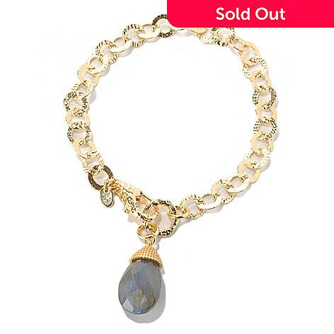 132-062 - Toscana Italiana Gold Embraced™ 8'' Hammered Circle Link Bracelet w/ Labradorite Drop