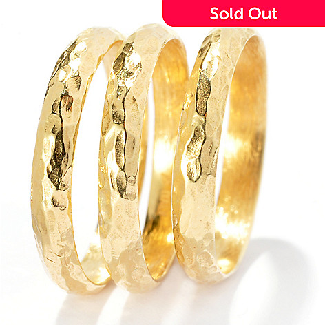 132-063 - Toscana Italiana 18K Gold Embraced™ Set of Three Hammered Band Rings