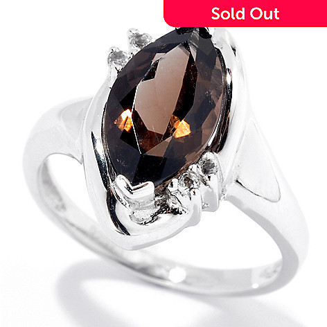132-066 - Gem Insider Sterling Silver 1.64ctw Smoky Quartz & White Topaz Ring