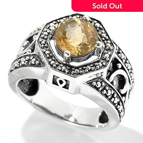 132-068 - Gem Insider™ Oxidized Sterling Silver 1.00ctw Citrine Beaded Halo Ring