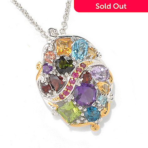 132-071 - Gems en Vogue 4.56ctw Multi Gemstone ''Theater District'' Enhancer w/ Chain