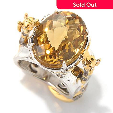 132-072 - Gems en Vogue 8.61ctw Zambian & Madeira Citrine Giraffe Ring