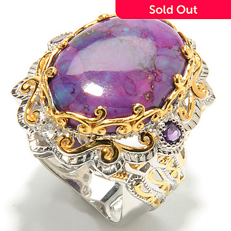 132-073 - Gems en Vogue II 20 x 15mm Purple Mohave Turquoise, Amethyst & White Sapphire Ring