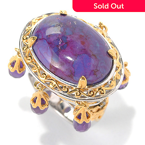 132-074 - Gems en Vogue II 20 x 15mm Purple Mohave Turquoise & Amethyst Fringe Ring