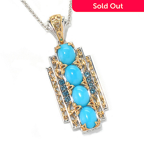 132-075 - Gems en Vogue Sleeping Beauty Turquoise & London Blue Topaz 4-Stone Pendant w/ Chain