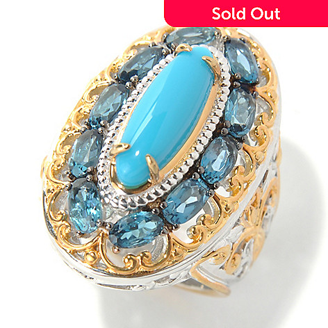 132-076 - Gems en Vogue 15 x 5mm Sleeping Beauty Turquoise & London Blue Topaz Elongated Ring