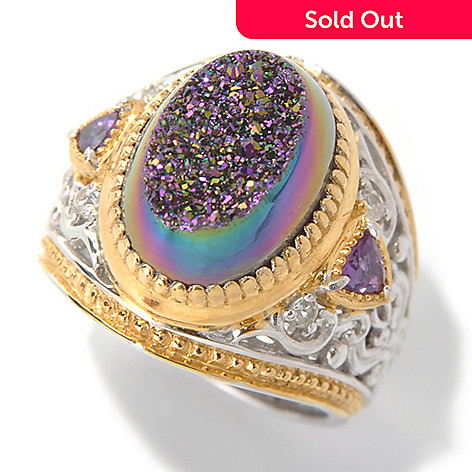 132-077 - Gems en Vogue 14 x 10mm Purple Drusy, Amethyst & White Sapphire Wide Band Ring
