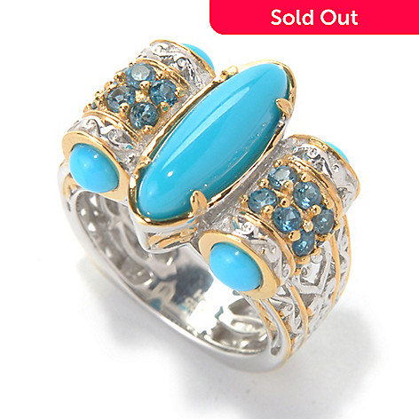 132-078 - Gems en Vogue 15 x 5mm Sleeping Beauty Turquoise & London Blue Topaz Side Barrel Ring