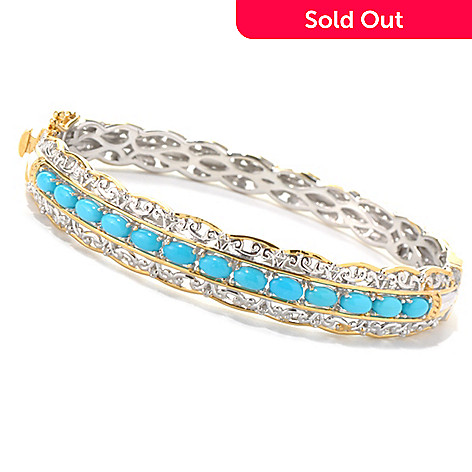 132-080 - Gems en Vogue Sleeping Beauty Turquoise Hinged Bangle Bracelet