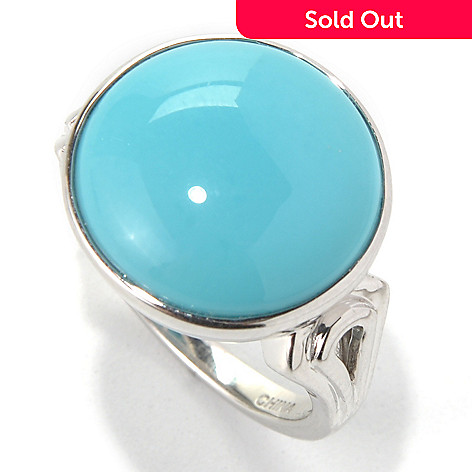 132-082 - Gem Insider™ Sterling Silver 15mm Round Sleeping Beauty Turquoise Ring
