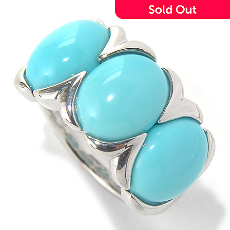 132-083 - Gem Insider™ Sterling Silver 10 x 8mm Sleeping Beauty Turquoise Three-Stone Ring