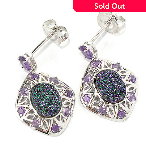 132-084 - Gem Insider™ Sterling Silver 9 x 7mm Purple Drusy & Amethyst Drop Earrings