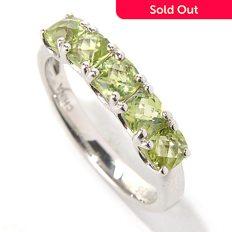 132-086 - Gem Insider Sterling Silver 1.20ctw Cushion Cut Peridot Five-stone Band Ring
