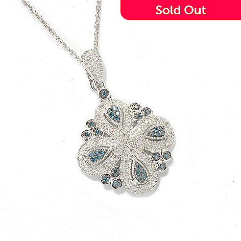 132-087 - Diamond Treasures® Sterling Silver 0.33ctw Blue & White Diamond Enhancer w/ Chain