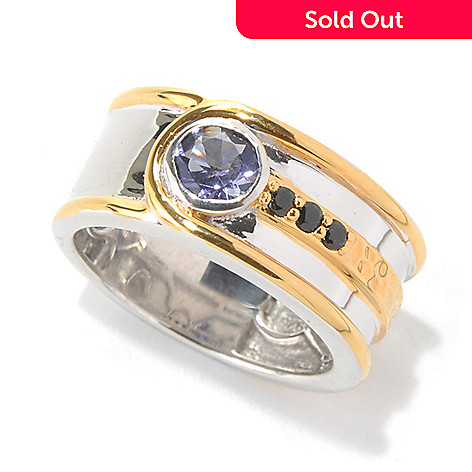132-090 - Men's en Vogue II Iolite & Black Spinel Hammered Band Ring