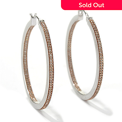 132-097 - Diamond Treasures® Sterling Silver 0.50ctw Champagne Diamond Inside-Out Hoop Earrings