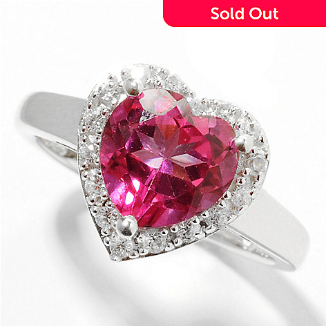 132-100 - Gem Treasures Sterling Silver 2.25ctw Topaz & White Zircon ''Kellie Anne'' Framed Heart Ring