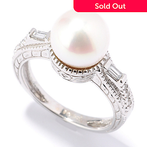 132-102 - The Vault from Gems en Vogue 14K Gold 10-9.5mm Cultured Pearl & Diamond Ring