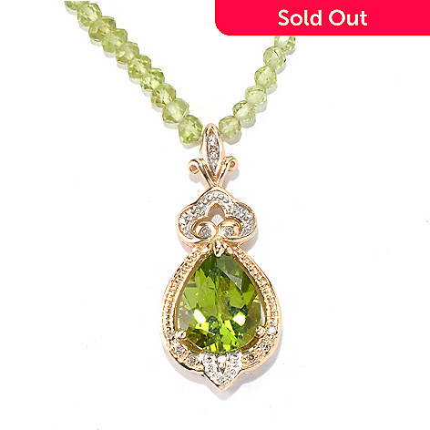 132-104 - The Vault from Gems en Vogue 14K Gold 18'' Peridot & Diamond Beaded Necklace