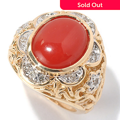 132-105 - The Vault from Gems en Vogue 14K Gold Red Coral & Diamond Flower Design Ring